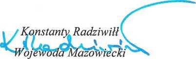 Podpisano: Konstanty Radziwiłł Wojewoda Mazowiecki